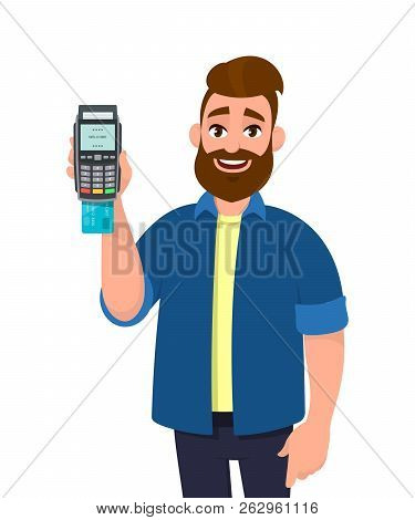 Man showing / holding credit / debit card inserted POS terminal machine. Man holding card inserted payment terminal machine or credit card, debit card swiping machine in hand. Payment concept. poster