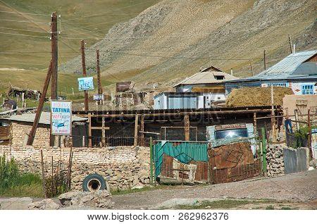 Sary-tash Village, Kyrgyzstan Chon-alai Valley. August 2, 2018 Pamir Highway,