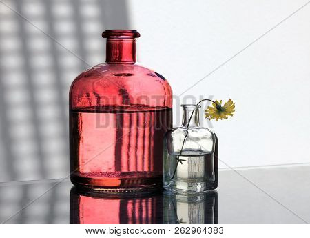 Two Vintage Glass Bottles And Small Yellow Wild Flower Against A High Key Background. Сountry Style