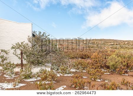 Sutherland, South Africa, August 7, 2018: Snow Is Visible At The Visitor Centre Of The South African