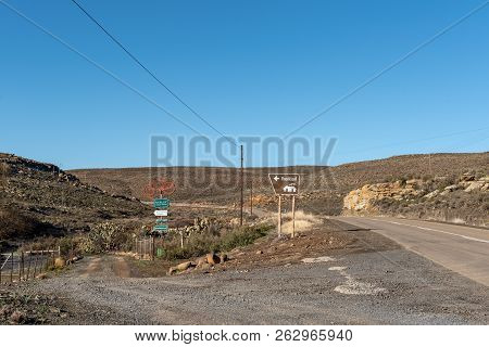 Sutherland, South Africa, August 8, 2018: Entrance To The Rooikloof Self-catering Cottages On Road R