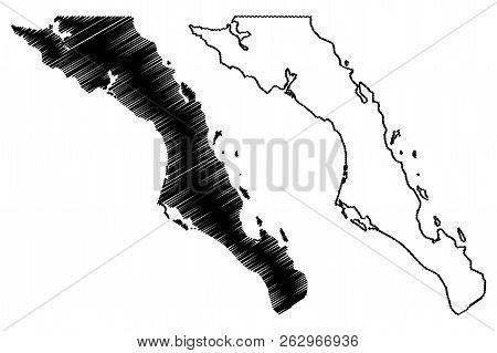 Baja California Sur (united Mexican States, Mexico, Federal Republic) Map Vector Illustration, Scrib