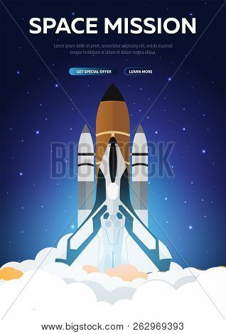Space Mission. Space Shuttle. Astronomical Galaxy Space Background. Vector Illustration