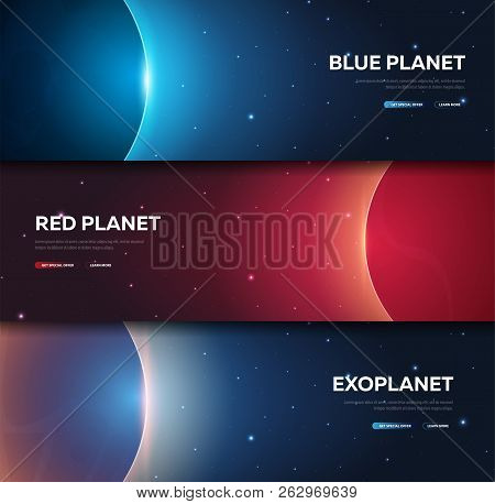 Set Of Space Banners. Space Shuttle. Mars, Earth, Exoplanet. Astronomical Galaxy Space Background. V