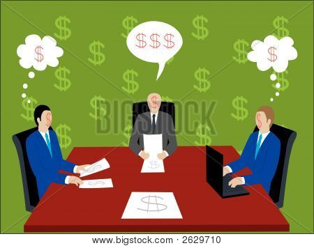 Seatting At The Table With Dollar Sign Faces Businessmen.Eps