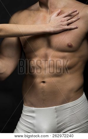 Naked Torso. Sexy Man With Muscular Body, Bare Torso. Male Swimwear, Shorts, Underwear, Concept. Mal