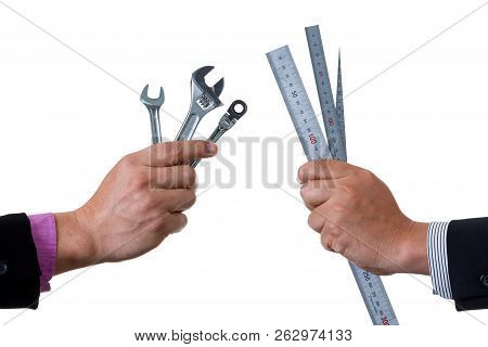 Two Mechanic Engineers Holding Two Ratchet Box End Wrench And Open End Wrench In His Hand And Other