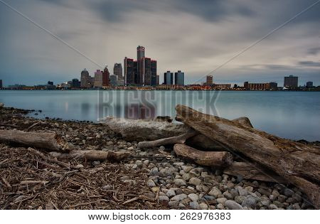 Autumn Long Exposure Landscape Of The Windsor, Ontario And Detroit, Michigan Riverfronts As Seen Fro