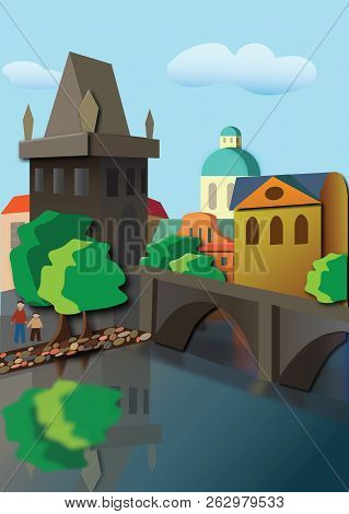 City With Tower And Bridge Vector Illustration It Is Maybe Used For Any Professional Project