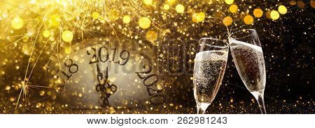 New Year's Eve 2019 Celebration Background with Champagne