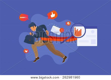 Overcome Challenge Vector Illustration: Resilient Businessmen With Ambitious Goals Overcoming Obstac