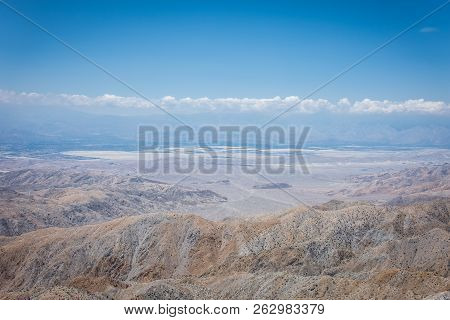 Keys View, a scenic desert viewpoint in Joshua Tree National Park, shows a beautiful view of the Coachella Valley below poster