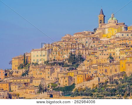 Scenic View Of Trevi Historical Center, Typical Mediaeval Village In Umbria, Italy