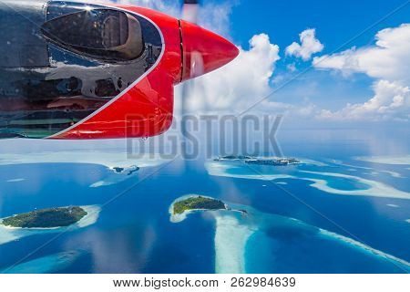 Perfect Maldives Landscape. Aerial View Of Tropical Island And Coral Reef, Atolls. Maldives Island B