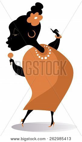Romantic African Singer Woman Isolated Illustration. African Woman With A Microphone Sings A Song Wi