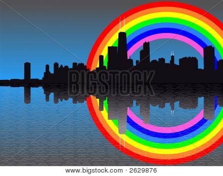 Chicago Skyline With Rainbow