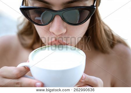Summer Woman Drink Coffee From Cup. Americano Or Espresso Latte Of Girl. Girl Relax In Cafe And Drin