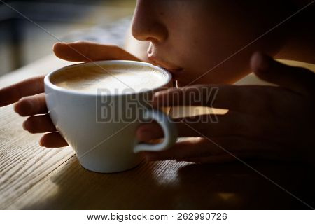 Fresh Morning Coffee With Milk And Cream Froth. Girl Smell Aroma Coffee Cup. Perfect Morning With Be