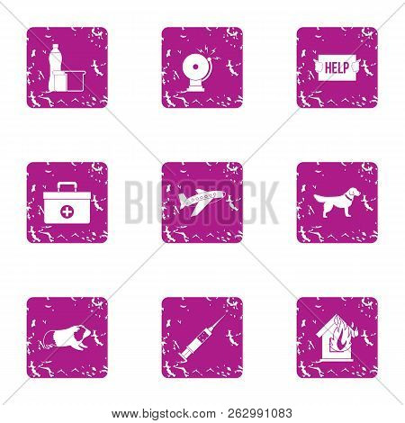 Victim assistance icons set. Grunge set of 9 victim assistance icons for web isolated on white background poster
