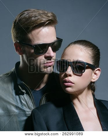 Having Close Relations. Couple Of Man And Woman Wear Fashion Glasses. Love Relations. Friendship Day
