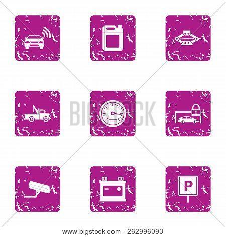 Urban Parking Place Icons Set. Grunge Set Of 9 Urban Parking Place Icons For Web Isolated On White B