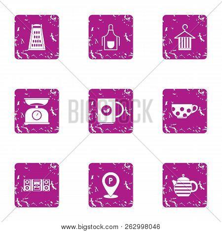 Tea Ceremony Icons Set. Grunge Set Of 9 Tea Ceremony Icons For Web Isolated On White Background