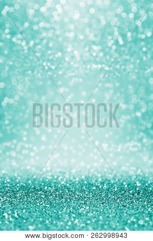 Abstract Fancy Teal Green Glitter Sparkle Confetti Background For Turquoise Happy Birthday Party Inv