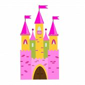 Fairy tale castle with turrets. Princess pink palace. Vector illustration for children, kids tales poster