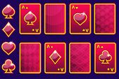 Cartoon red four poker game cards and card back.Vector GUI elements poster