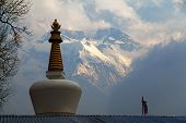 view of stupa and Annapurna 2 II, round Annapurna circuit trekking trail, Nepal poster