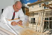 Ready-to-Use construction, architecture, drawing, under-construction, building montage of images poster