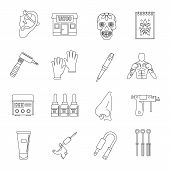 Tattoo parlor icons set. Outline illustration of 16 tattoo parlor icons for web poster