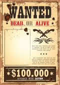 Retro wanted paper for wild west bounty poster