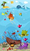 vector illustration of a cute sea life poster