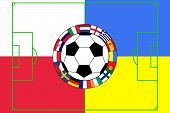 vector of football ball with field and flags of Poland and Ukraine poster