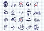 set of doodle icons poster