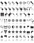 set of 63 media and web icons poster
