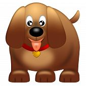 Cute Puppy Dog with Red Collar Isolated on White Background Illustration poster