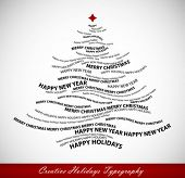 Christmas tree shape from words - typographic composition - vector poster