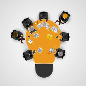Business Meeting And Brainstorming. Idea And Business Concept For Teamwork. Infographic Template Wit