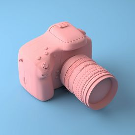 Cool Professional Camera On A Blue Background. All Painted In One Fashionable Pink And Pastel Color.