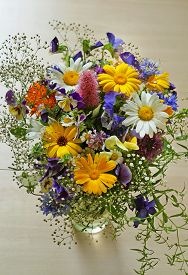 Bouquet Of Wild Flowers On Background  On Wood