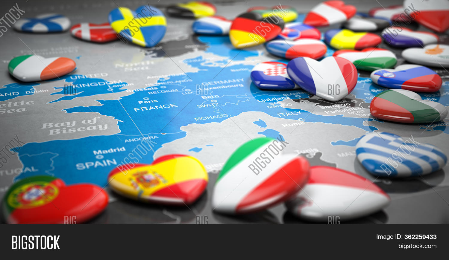 Map Europe Hearts Image Photo Free Trial Bigstock