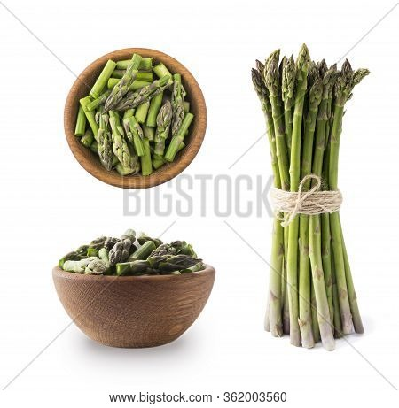 Bowl Of Asparagus Isolated On White Background. Asparagus With Copy Space For Text On White.edible A