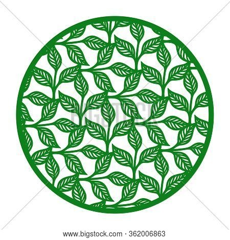 Vector Round Frame With A Pattern Of Branches, Leaves. Design Element, Sample Panel For Plotter Cutt