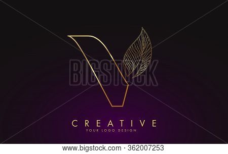 Outline Golden Letter V Logo Icon With Wired Leaf Concept Design. Letter V With Nature Concept. Eco