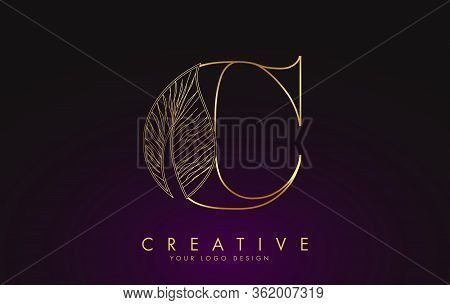 Outline Golden Letter C Logo Icon With Wired Leaf Concept Design. Letter C With Nature Concept. Eco