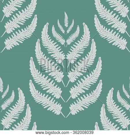 Fern Leaves Vector Seamless Pattern Background. Stylized Forest Plant Frond Silver Teal Backdrop. Ha