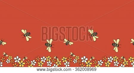 Pollinators Bees And Flowers Horizontal Border Seamless Repeat Vector On Red Background Surface Desi