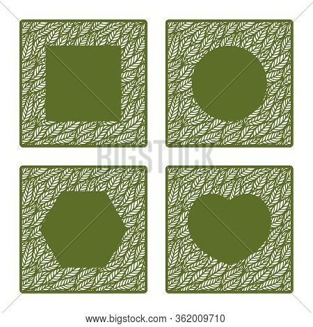 Set Of Square Frames With A Pattern Of Leaves And Copy Space In The Center. Design Element, Sample P